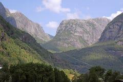 在Lysefjord,挪威的峭壁 免版税库存照片
