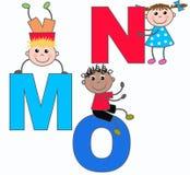 在m n o上写字 免版税库存照片