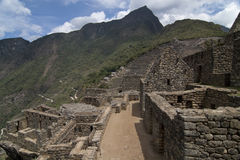 在Machu Picchu的大阳台 免版税库存图片