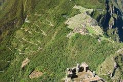 在machu picchu的鸟瞰图 图库摄影