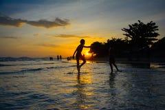 在mae pim海滩rayong泰国的日落 库存图片