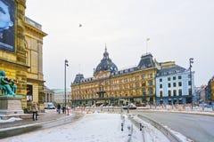 在Magasin du Nord的街道视图在冬天 库存照片