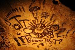 在Magura洞,贝洛格拉奇克,保加利亚的古老图画 免版税库存图片