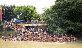 在Mahalya的Bagbazar Ghat 库存图片