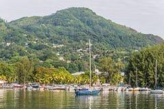 在Mahe的帆船,塞舌尔群岛 库存照片