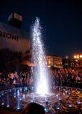 在Maidan Nezalezhnosti的光和音乐喷泉在基辅 免版税图库摄影