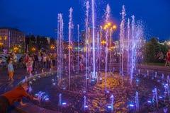 在Maidan Nezalezhnosti的基辅喷泉 库存图片