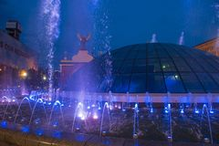 在Maidan Nezalezhnosti的基辅喷泉 免版税库存照片