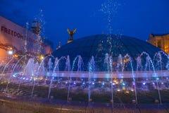 在Maidan Nezalezhnosti的基辅喷泉 库存照片