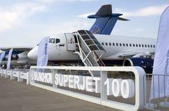 在MAKS国际航空航天沙龙的苏霍伊超音速喷气飞机100 图库摄影