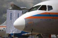 在MAKS国际航空航天沙龙MAKS-2017的苏霍伊超音速喷气飞机100 免版税库存照片
