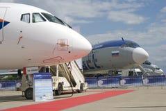 在MAKS国际航空航天沙龙MAKS-2017的苏霍伊超音速喷气飞机100 免版税库存图片