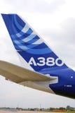 在MAKS-2013的空中客车A380尾巴 免版税库存图片