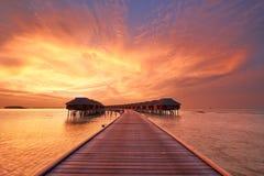 在Maldivian海滩的日落 免版税库存图片