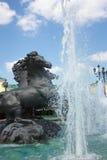在Manege广场的喷泉,莫斯科,俄国 免版税图库摄影