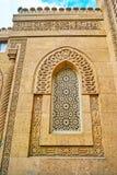 在Manial宫殿清真寺,开罗,埃及门面的伊斯兰教的样式  免版税库存图片