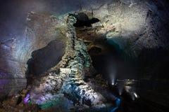 在Manjanggul熔岩管洞的熔岩专栏在济州海岛上 免版税图库摄影