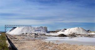 在Margherita di Savoy,普利亚盐溶平底锅 库存照片