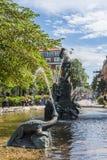 在Mariatorget Sodermalm斯德哥尔摩的喷泉 免版税库存图片