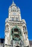 在Marienplatz广场的新的Councill霍尔塔在慕尼黑,德国 免版税库存图片