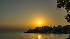 在Marmaras上的日落 图库摄影