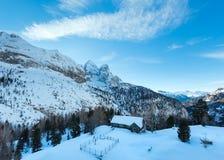 在Marmolada山,意大利的冬天视图。 免版税图库摄影