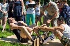在Mas搏斗的非职业竞争在卡卢加州地区在俄罗斯 免版税图库摄影