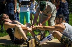 在Mas搏斗的非职业竞争在卡卢加州地区在俄罗斯 免版税库存照片