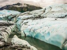 在Matanuska冰川内的河,阿拉斯加 库存照片