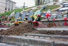 在Maydan Nezalezhnosti广场的暂时纪念品在基辅 免版税图库摄影