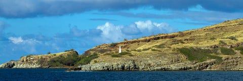 在McGregor点的轻的烽火台在毛伊,夏威夷 库存照片