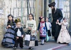 在Mea Shearim的Purim 库存照片