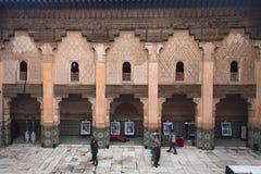 在medersa本优素福里面在马拉喀什,摩洛哥 免版税库存图片