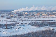 在Megion镇,西伯利亚,俄罗斯近处的冬天视图  库存图片