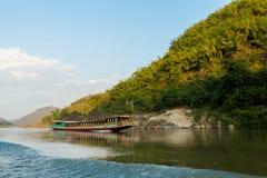 在Megokng巡航老挝期间的风景 免版税库存照片