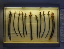 在Mehrangarh堡垒博物馆的古老剑 免版税库存照片