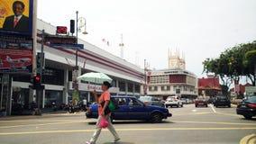 在Melaka世界遗产城市的交通堵塞 免版税库存图片