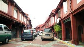 在Melaka世界遗产城市的交通堵塞 免版税库存照片
