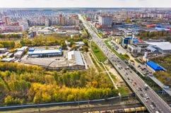 在Melnikayte街道上的俯视图 秋明州 俄国 库存照片