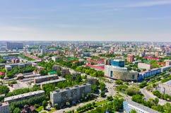 在Melnikayte街道上的鸟瞰图 秋明州 俄国 免版税库存照片