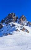 在Meribel滑雪胜地的倾斜  库存图片