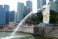 在Merlion公园的Merlion在新加坡 库存照片