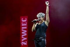 在Meskie Granie 2017音乐会期间的玛丽亚Peszek在华沙 免版税库存图片