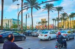 在Midan Tahrir广场词条,开罗,埃及的交通堵塞 免版税库存图片
