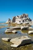 在Mingan的美好的风景在魁北克在加拿大 免版税库存照片