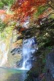 在Minoo瀑布,大阪,日本的秋天 这瀑布是Minoo公园` s主要自然吸引力,与高度33米 库存图片
