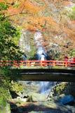 在Minoo瀑布,大阪,日本的秋天 免版税图库摄影