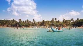 在Mirissa,斯里兰卡附近的渔船 图库摄影