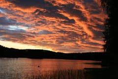 在Moekeren, Finnskogen,挪威的日落 库存图片