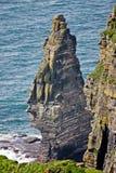 在Moher,县克莱尔,爱尔兰峭壁的单一岩层  免版税库存图片